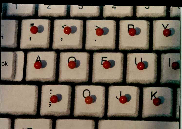 close up of pins on keyboard used in test demonstration
